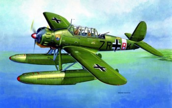 drawing,Arado ar 196,german aircraft,painting,war,ww2