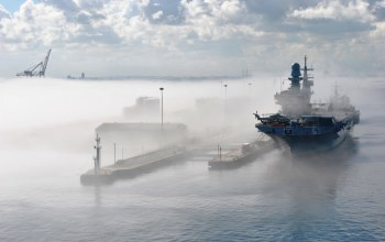 fog,helicopter,aircraft carrier,marina militare,Cavour,italian navy