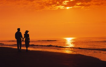 Walking,Sunset,beach,двое,couple