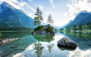Germany,Lake hintersee,ramsau,Bavaria,berchtesgadener land,alps,ramsauer ache