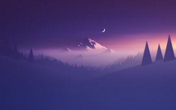 minimalism,abstraction,Purple,mountain