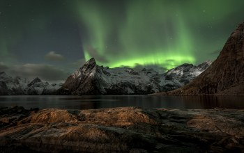 mountains,norway,лофотенских островах,Aurora borealis