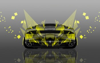 Lamborghini,Tony kokhan,back,Abstract,effects,yellow,photoshop,el tony cars
