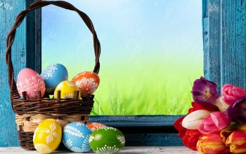 Easter,happy,eggs,цветы,яйца,spring,basket,decoration,tulips