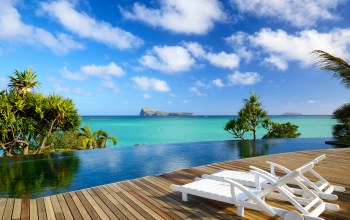 paradise,Mauritius,vacation,deck,tropical,beach,chairs,indian ocean,sunshine
