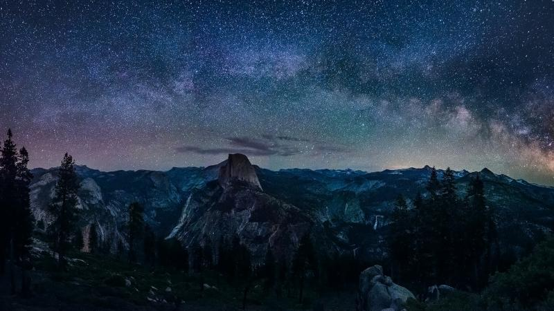 night,Milky,point,сalifornia,landscape,nature,galaxy‬,sky,Yosemite,glacier,way