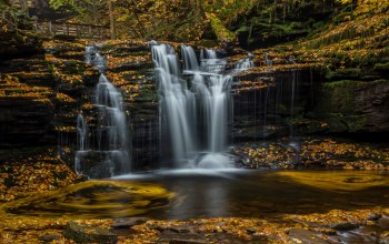 Ricketts glen state park,водопад,pennsylvania,каскад