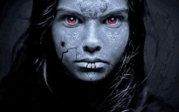 blue skin,female,scars in the form of symbols,red eyes,brunette