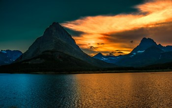sunrise,Glacier national park,montan,grinnell peak,swiftcurrent lake,восход
