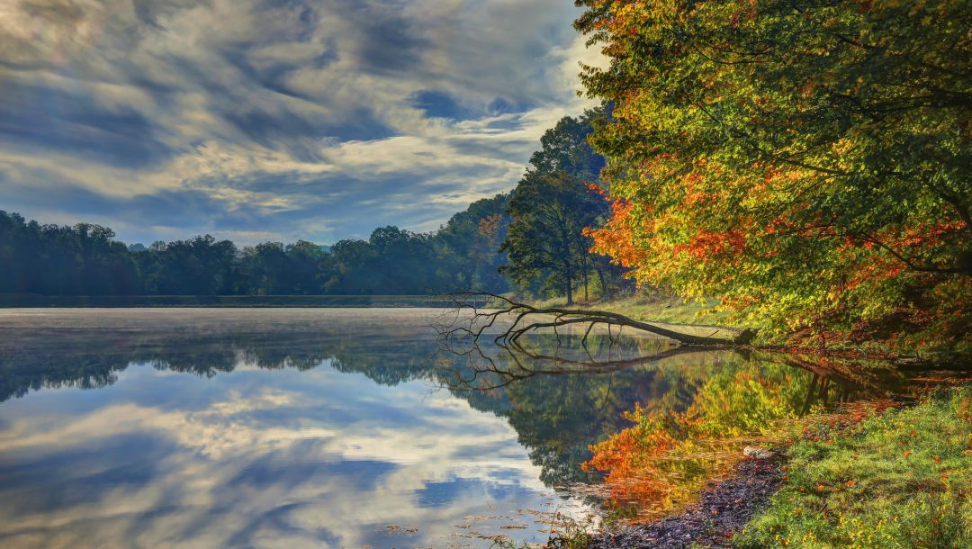 fall,river,colorful,sky,forest,autumn,leaves,colors,trees,clouds,park,water