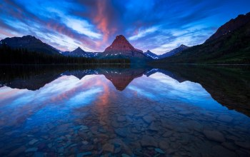 two medicine lake. glacier national park,Sinopah mountain