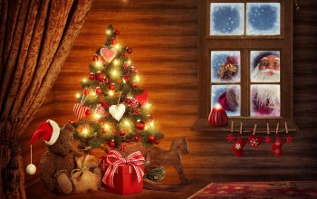 christmas tree,windows,bonnet,decoration,santa claus,ornaments,Hat,christmas