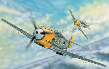 painting,aviation,ww2,Messerschmitt bf 109e-3