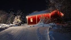 merry christmas,holiday,Road,lights,forest,house,winter,trees,Happy new year,snow