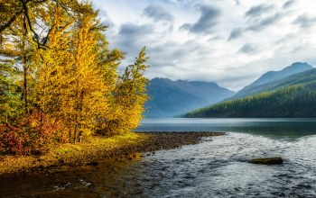 forest,fall,river,sky,clouds,mountains,water,colorful,trees,park,autumn,leaves