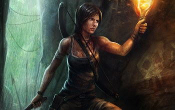 факел,tomb raider,Вода, lara croft,лук