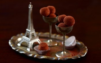 candy,truffle,Eiffel tower,still life,chocolate,france,cups,cocoa