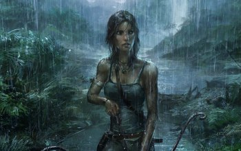 джунгли,tomb raider,лук,дождь,lara croft