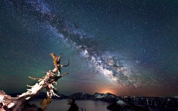 crater lake,landscape,night sky,crater lake national park
