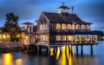 lights,coast,house,wood