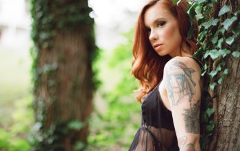 woman,Hattie watson,tattoos,redhead,arm,blouse,trees,girl,tattoo,female,tree