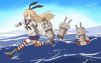 shimakaze,kantai collection,takekumo,Вода,. бант