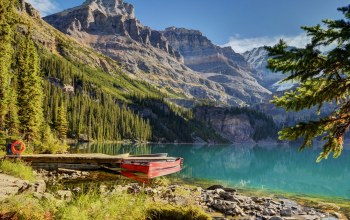 boat,forest,mountains,water,trees,water