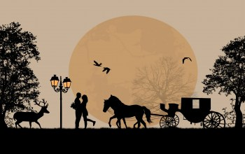 couple,Любовь,romance,trees,horse,deer,cart ,full moon,Birds
