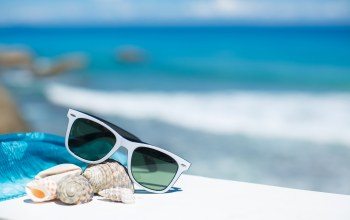 accessories,shells,vacation,beach,blue sky,summer,glasses