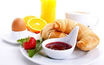 Strawberry,juice,breakfast,coffee,food,cup,orange,croissants,кофе,сок