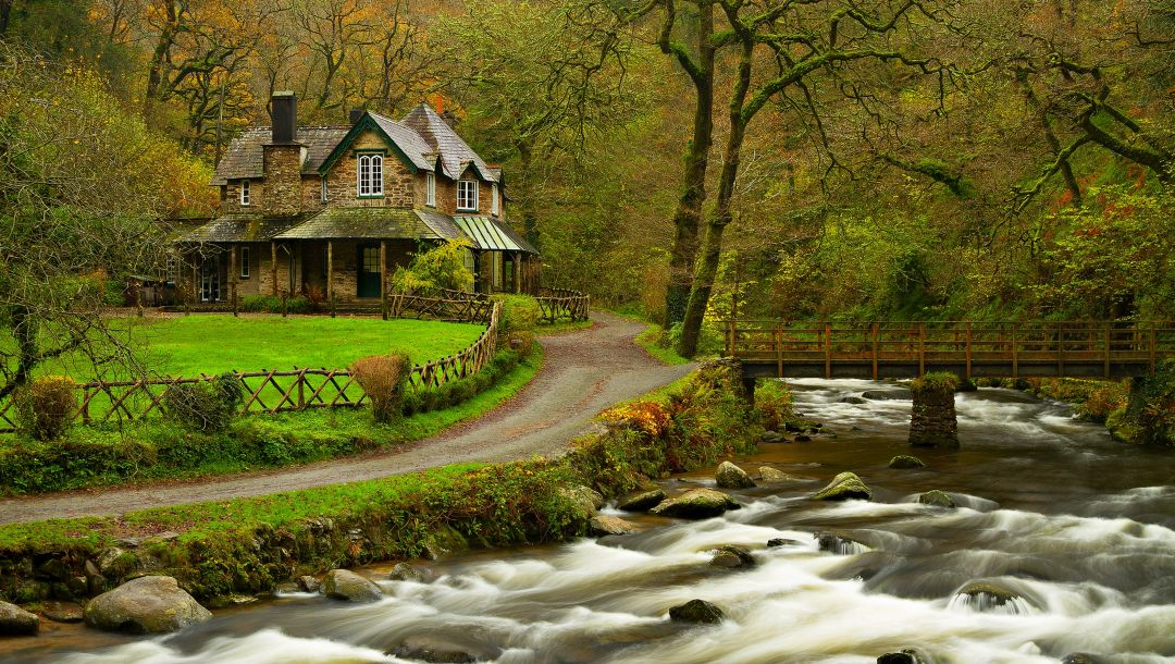 park,house,bridge,trees,fall,river,colorful,spring,leaves,home,water,forest