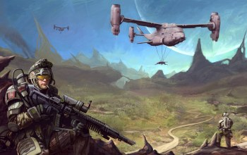 big gun,helicopter,equipment,mountains,helmet,automatic,soldier