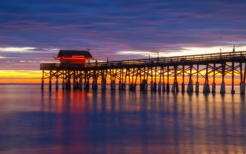 long exposure,colors,Cocoa beach,pier,sunrise