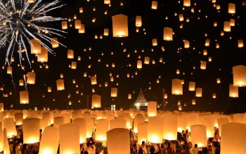 Floating lanterns,thailand,loi krathong festival
