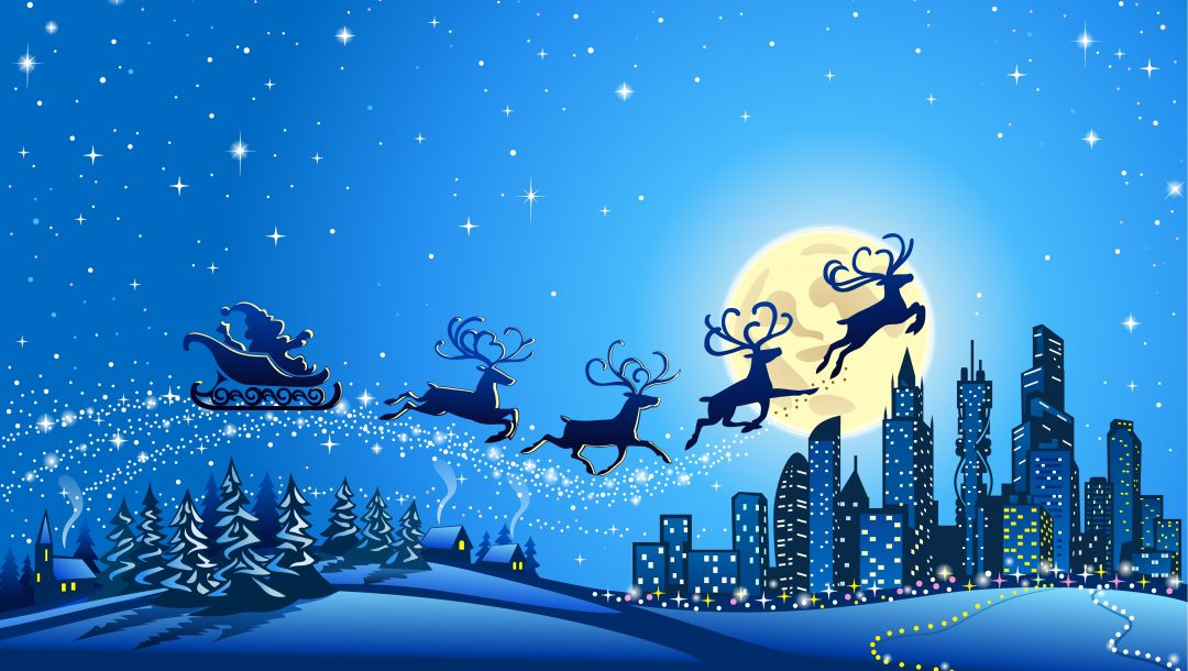 houses,vector,reindeer,ice town,trees,snow,full moon,stars,merry christmas