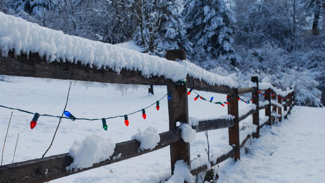 winter,Happy new year,snow,merry christmas,lights,fence,holiday
