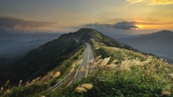 mountains,hills,Road,clouds