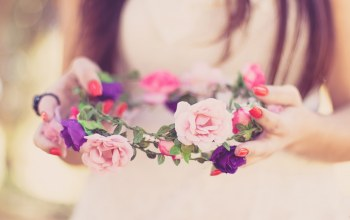 невеста,lovely,счастливые,wreath,bride,spring,wedding,happy
