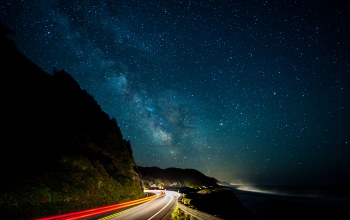 lights,Road,Milky way