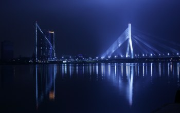 staro riga,water,lights,daugava,bridge