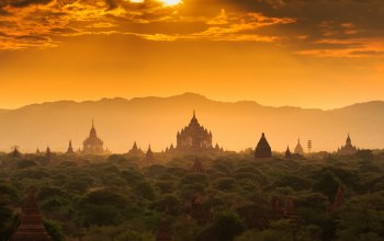 Sunset,temple,architecture,forest,мьянма,palace,old,the lost town,myanmar