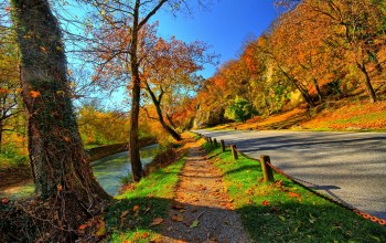 trees,fall,sky,colorful,water,leaves,autumn,Road,path,park,forest,mountains
