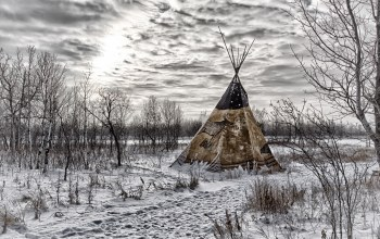trees,tepee,winter,sky,snow,clouds