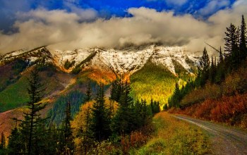 colorful,snow,autumn,forest,clouds,path,trees,park,sky,mountains,Road,leaves