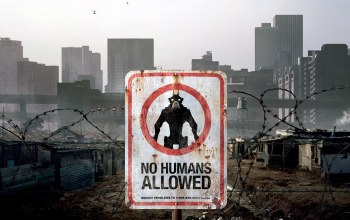 skyscrapers,helicopters,movie,District 9,no humans allowed,sign,Alien