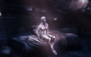 asari,liara tsoni,Normandy,cabin,mass effect