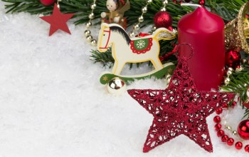 snow,decoration,red balls,stars,merry christmas,toy horse