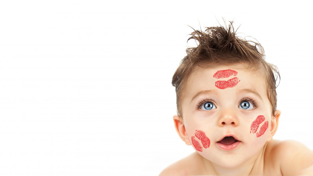 kisses lipstick on face,baby,beautiful,big blue eyes,funny,childhood,Happy kid,child