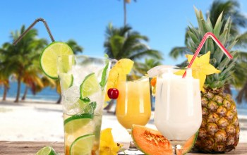 drink,tropical,cocktails,beach,palms,fruit,Коктейли