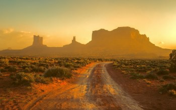 Track,Monument valley,Sunset